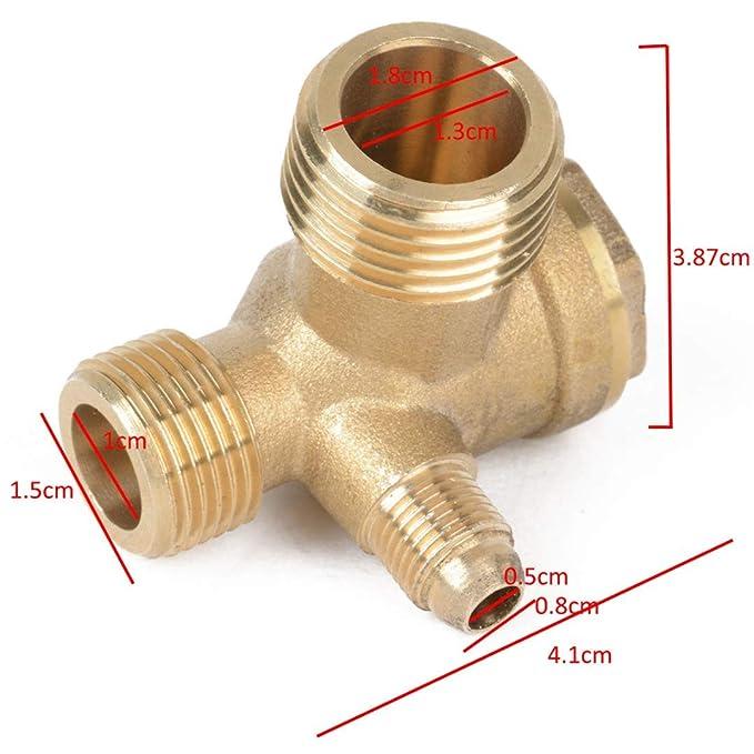 Conector de Válvula de Retención de Rosca Macho 3 Puertos Para Compresor de Aire: Amazon.es: Bricolaje y herramientas