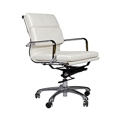 Amazon Com Eames Style Executive Leather Office Chair White Home