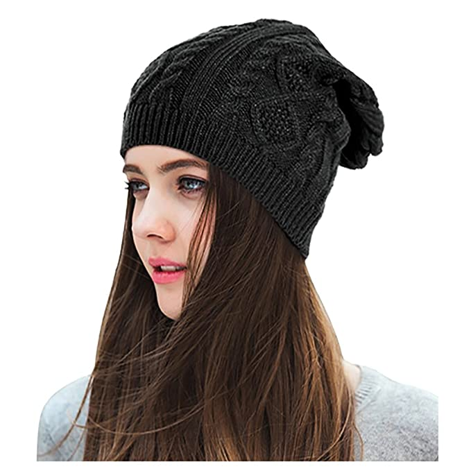 6bad8074a0bd Lamdgbway Women Slouchy Beanie Knit Stretch Braided Cable Winter Hats Skip Cap  Black: Amazon.co.uk: Clothing