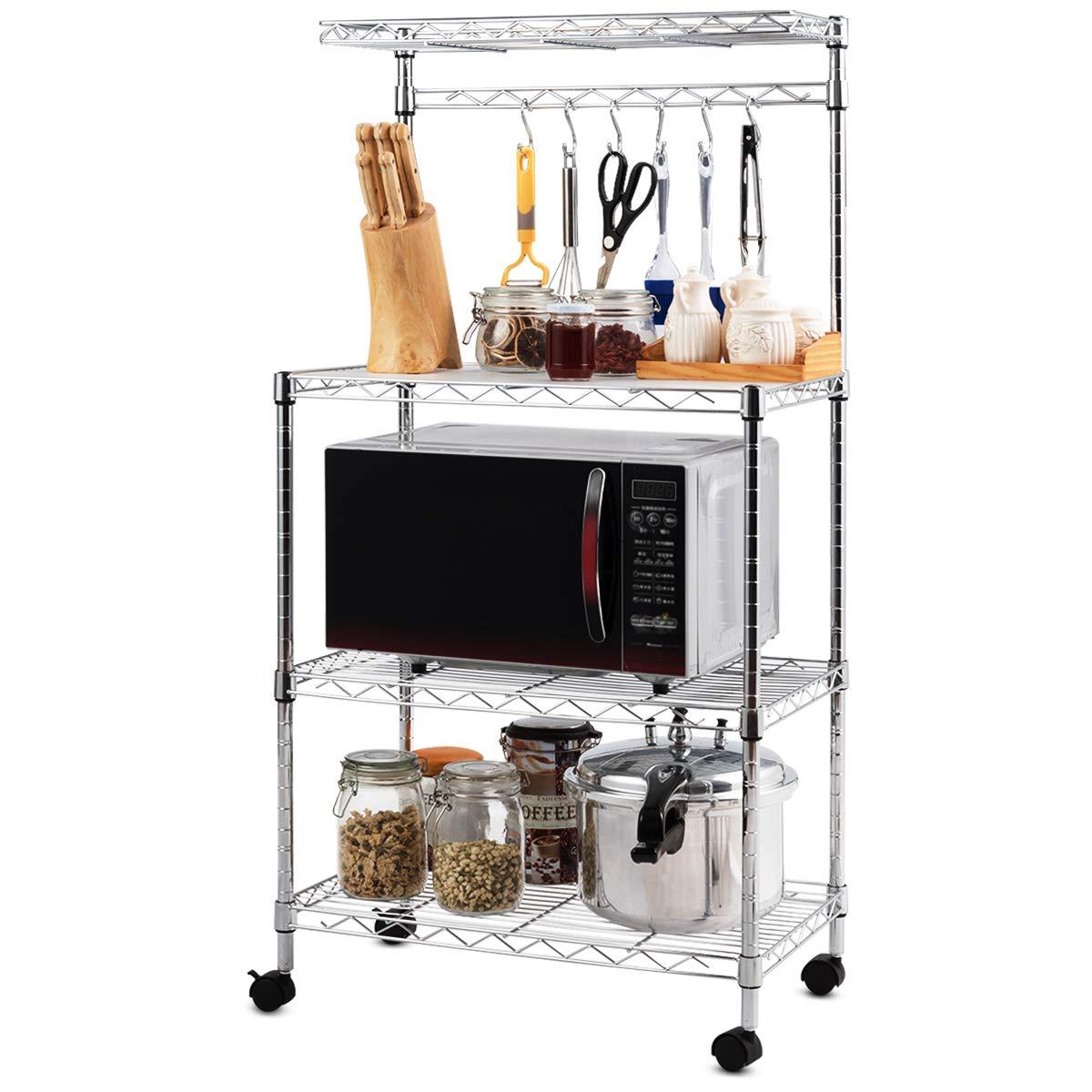 Giantex 4-Tier Baker's Rack Microwave Rack Free Standing Storage Shelf Microwave Oven Stand Kitchen Cart Storage Organizer Shelf Workstation w/Adjustable Shelf and 6 Hooks