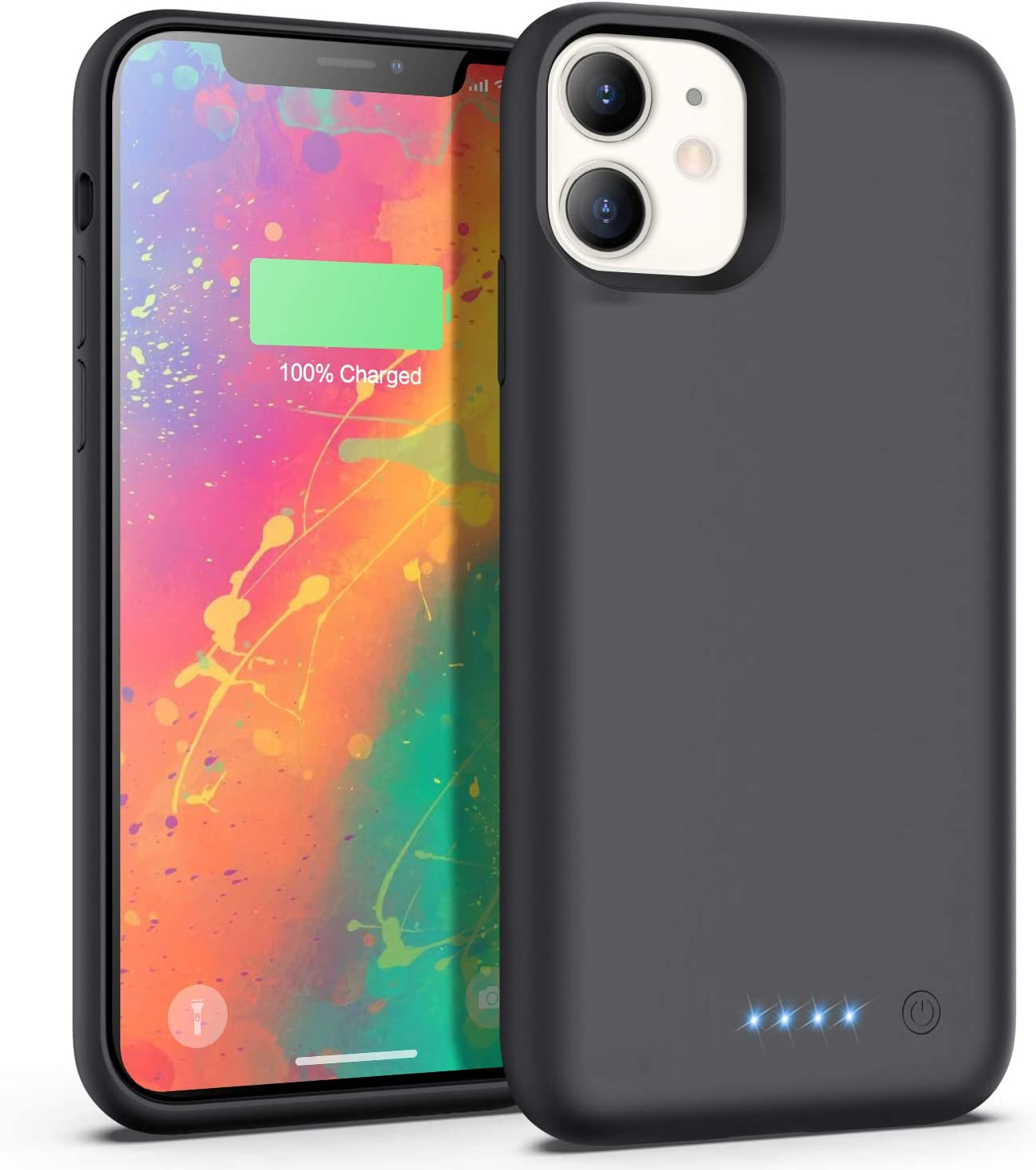 Feob Battery Case for iPhone 11, 6800mAh Portable Charging Case Extended Battery Pack for iPhone 11 Charger Case [6.1 inch]-Black