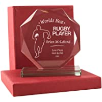 Personalised Worlds Best Rugby Player Glass Award, Rugby Gift Ideas, Sports Gifts