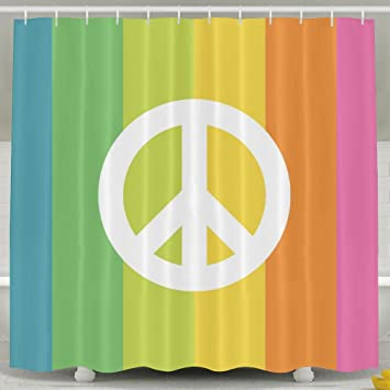 Rainbow Peace Bathroom Shower Curtain, Waterproof Bath Decorations Bathroom  Decor Sets With Hooks   Unique