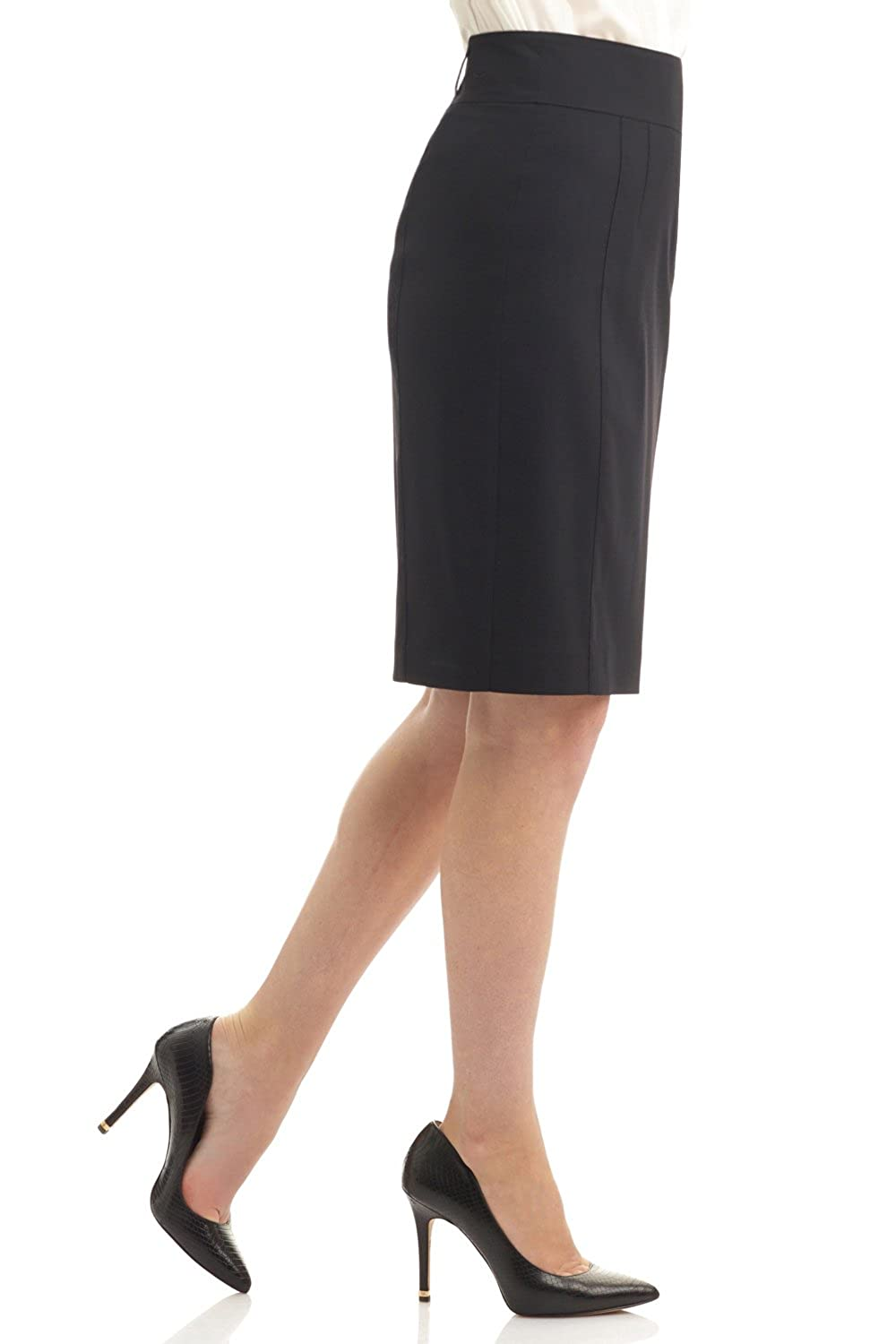 Rekucci Collection Womens Stretch Wool Pencil Skirt with Back Zip Detail