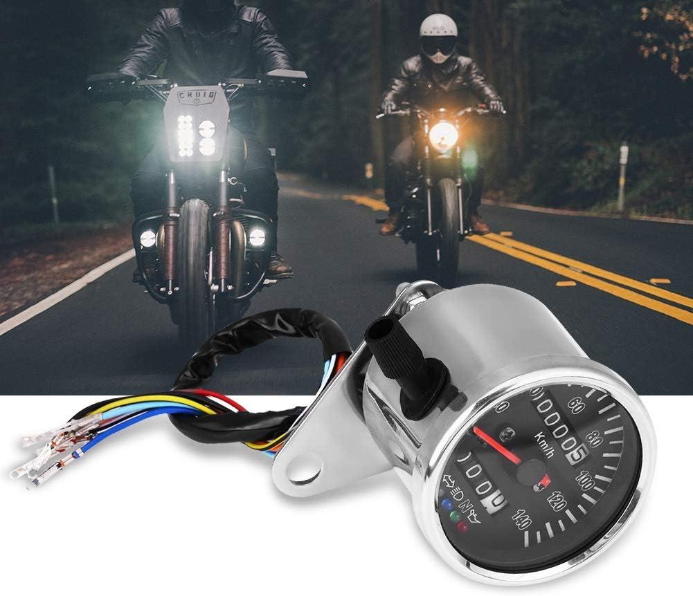 Tarente 65 mm Black Face LED Mechanische Motorrad-Geschwindigkeitsmesser-Messger/ät mit Anzeige Sliver