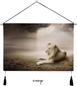 Homenon Canvas Wall Art for Living Room, Bedroom White Lion Setting at Sunset Dramatic Sky Foggy Clouds Desert Sunbeams Canvas Prints for Home Decoration Ready to Hanging - 24.5x17.5 inches