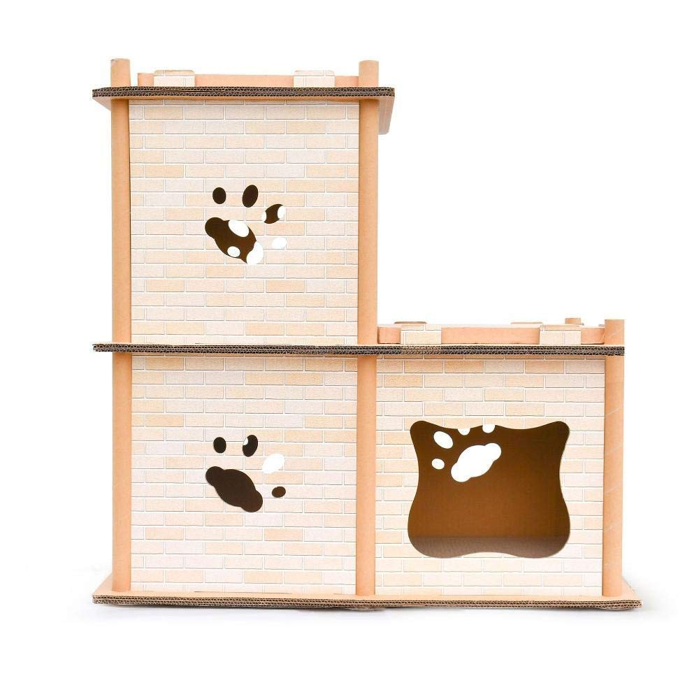 Deluxe Multi Cat Tower Corrugated Two Layer cat Climbing Frame cat Tree cat nest for Sleeping Games 67.5cm 37cm  67.5cm