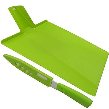 Kioos Foldable Cutting Board and 5 Inch Ceramic Knife Set