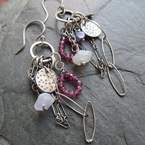 Long Silver and Garnet Earrings with Charms- Diana Anton Jewelry Design (Earrings Tanzanite Dangling)