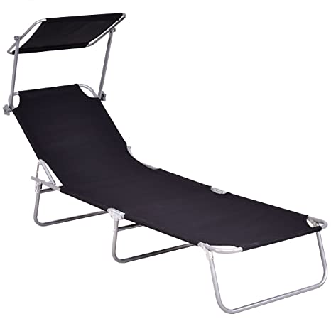 Superbe Giantex Folding Lounge Chair Relaxer Bed With Sun Shade Outdoor Portable  Recliner W/Adjustable Reclining
