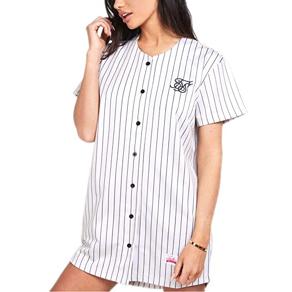 b88f2710e78 SikSilk Dress - Original Baseball Jersey Beige Black  Amazon.co.uk  Clothing