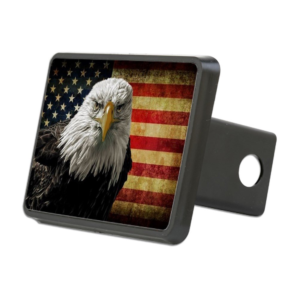 CafePress - Bald Eagle and Flag - Trailer Hitch Cover, Truck Receiver Hitch Plug Insert by CafePress