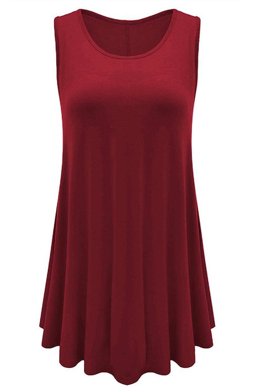 Jescakoo Womens Tops Solid Color Cute Sleeveless Tunic for Leggings Wine XXL