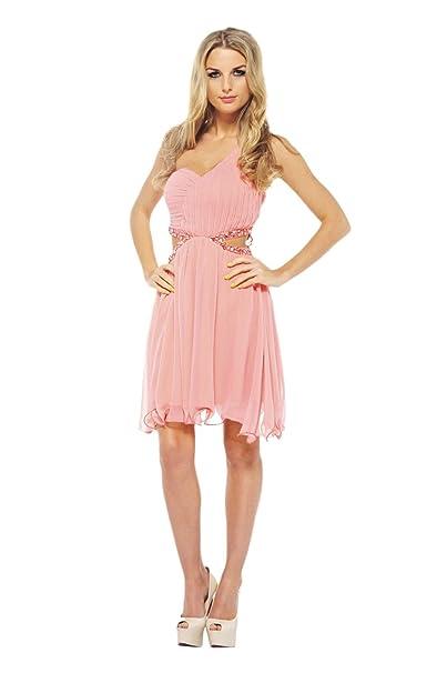 67b0189328 AX Paris One Shoulder Cut Out Waist Dress(Coral