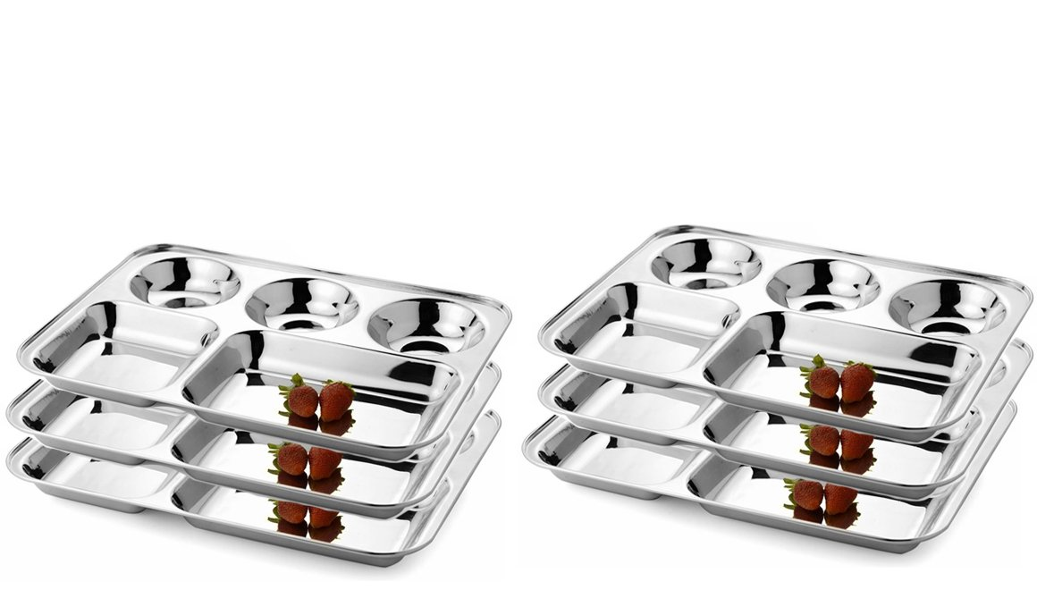 King International 100% Stainless Steel Five in one Dinner Plate Five sections divided plate Five section plate -Set of 6 Mess Trays Great for Camping, - 37 cm