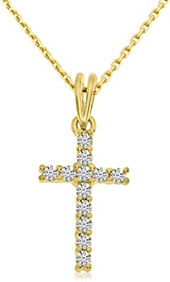 10k White Gold Brown Diamond Cross Pendant 1//2 ct