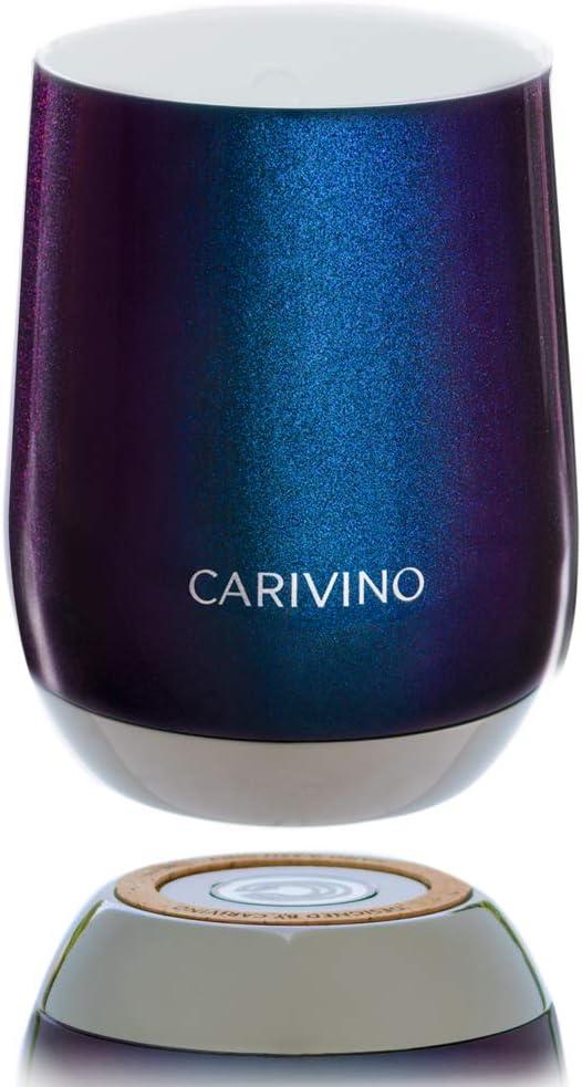 CARIVINO: Luxury Wine Tumbler with Genuine Cork Base and Ceramic Interior (No Metal Taste) – Premium Box 12oz Vacuum Insulated Stainless Steel and BPA-Free Tritan Lid (Element 115)