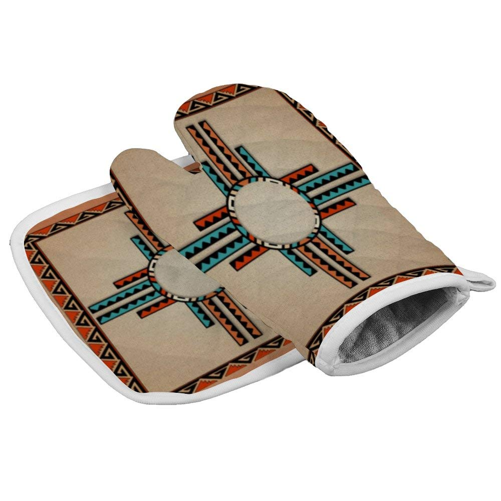 Lmlfes Sided Southwestern Home 4060 Durable Oven Gloves Heat Resistant Kitchen Insulated Gloves + Insulated Square mat Insulated Gloves Combination