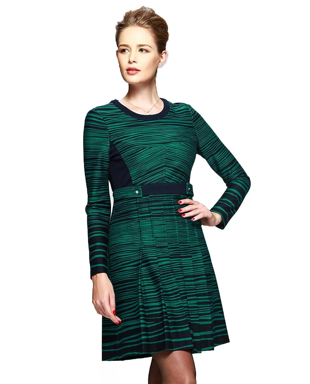 Newland Women's Round Neck Long Sleeve Stripe Casual Dress US 6