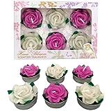Hana Blossom Parrafin rotonde in cera profumata, candeline a forma di fiore, colore: rosa/bianco