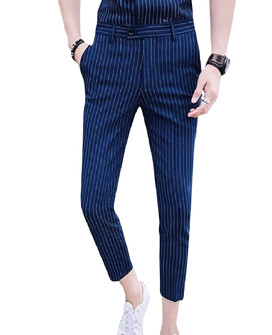 AngelSpace Mens Relaxed Plus Size Stripe Premium Select Regular Chino Pants
