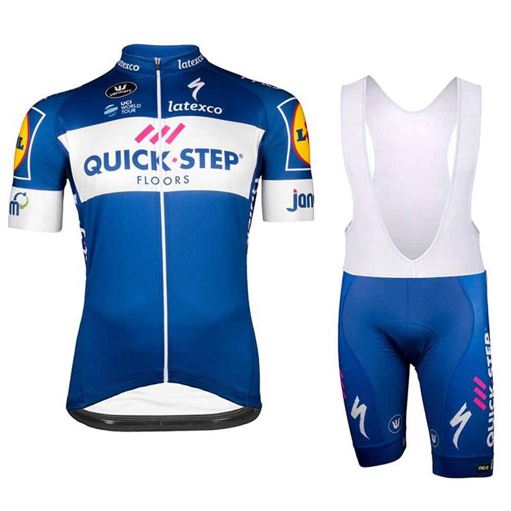 Radtrikots - Breathable Short Sleeve Bike Trikot mit 3D Gel Pad Trägerhose für Pro Bicycle Team Clothing, blau