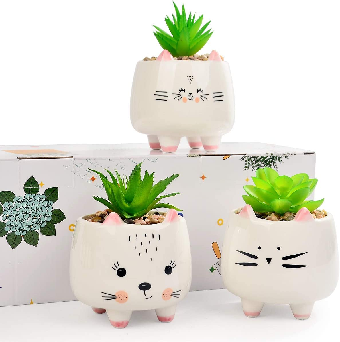 3 Cat Emotion Face Small Artificial Succulents Potted with White Porcelain Pots Ceramic Animal Planter Gift Set for Home and Office Decor (Pussy Cat)