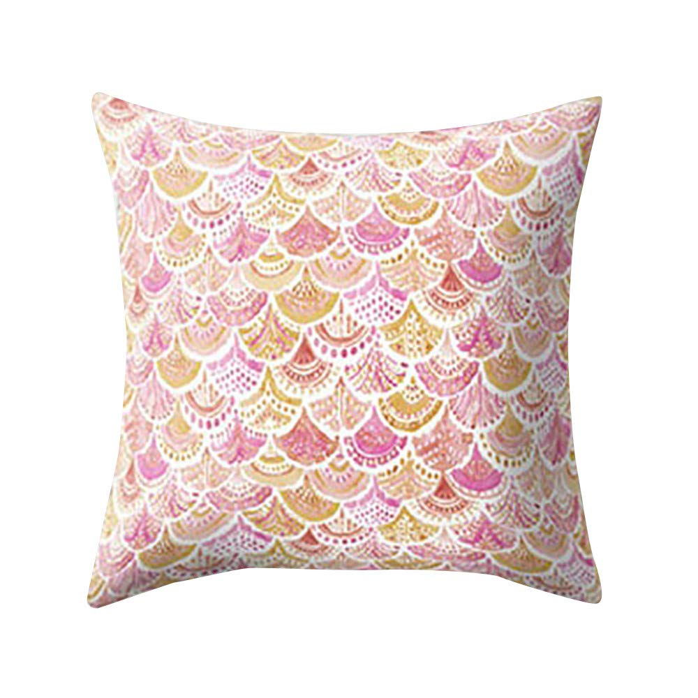 Chenway Fish Scale Peach Skin Printing Throw Pillow Case, Square Pillowslip Zipper Cushion Festive Decoration CaseCover for Sofa Living Room Home Decor (F)