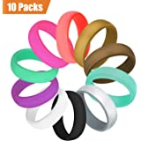 Fynix 10 Pack Silicone Wedding Ring for Women, Premium Medical Grade Wedding Bands Thin and Stackable Durable Comfortable Antibacterial Rubber Rings, Black White Pink Silver