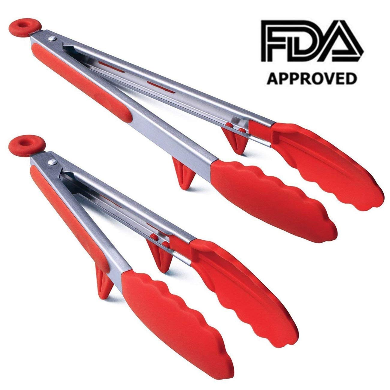 Products Premium Silicone Kitchen Tongs 2 Pack (9-Inch & 12-Inch) Stainless Steel Non-Stick Cooking Tongs Soft Silicone Heads and Stands Design for Cooking,Salad,BBQ Grilling,Serving and Frying(Black)
