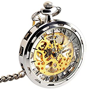 ManChDa Mens Mechanical Automatic Skeleton Steampunk Transparent Open Face Pocket Watch Skeleton Dial Case with Chain + Gift Box