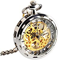 ManChDa Mens Steampunk Transparent Open Face Pocket Watch Sliver Gold Skeleton Dial Bronze Case with Chain + Gift Box