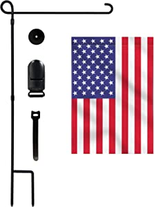 YEAHOME Garden Flag Holder Stand with American Flag, Premium Powder-Coated Yard Flag Pole with Tiger Clip and Rubber Stopper for Indoor Outdoor Decoration