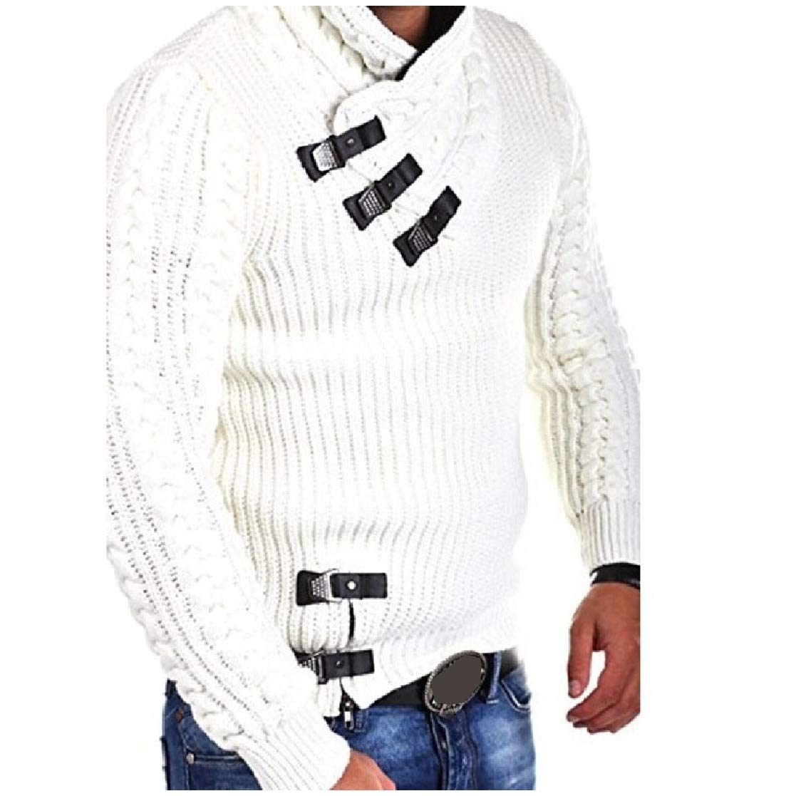 YUNY Mens Long Sleeve Wool Pullover Stand up Collar Knitwear Sweaters Tops White XS