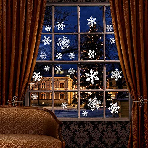 White Snowflakes Window Decorations Clings Decal Stickers Ornaments for Christmas Frozen Theme Party New Year Supplies-3 Sheets, 81 pcs]()