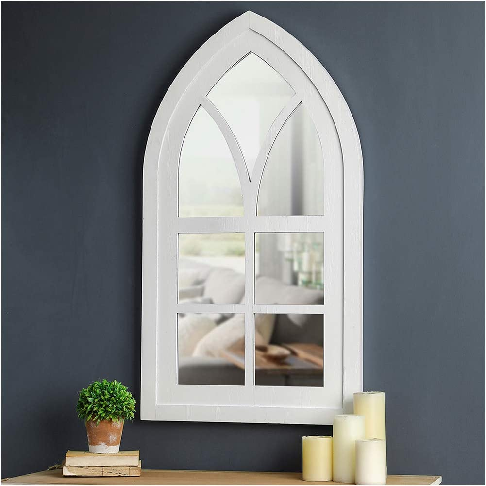 Glitzhome Cathedral Arched Windowpane Wall Mirror Window Frame 40