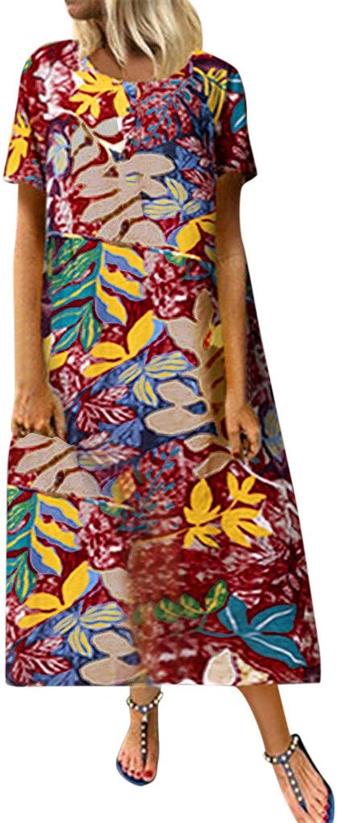 VICGREY Vestido Mujer Elegante - Mujer Suelta Manga Corta Vestido ...