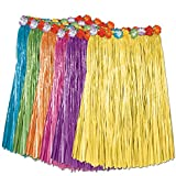 Club Pack of 12 Tropical Multi-Colored Adult Sized Artificial Grass Hula Skirts 36''