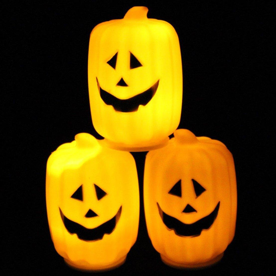 1Pc Supreme Popular Halloween LED Nightlight Decor Favor Festival Patterns Long Pumpkins Color Orange