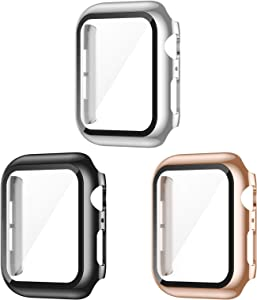 AVIDDA 3 Pack Case with Tempered Glass Screen Protector for Apple Watch 38mm Series 3/2/1, Slim Guard Bumper Full Coverage HD Ultra-Thin Cover Compatible with iWatch 38mm
