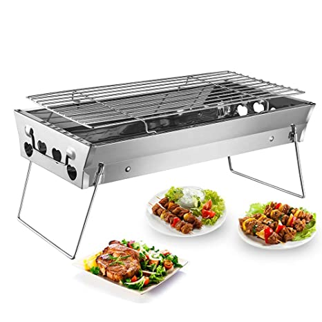 c05934cafce Shuzhu Tabletop Grill Portable Foldable Small Lightweight Stove Mini Charcoal  BBQ Grill Stainless Steel for Outdoor