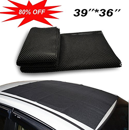 Omonic Car Roof Mat Cargo Bag Top Universal Roof Rack Pad (39x36) Cushioned Layer Non-Slip Heavy Duty Elastic Soft for Car SUV Truck Roof Carrying Cargo Bags Bikes Paddle