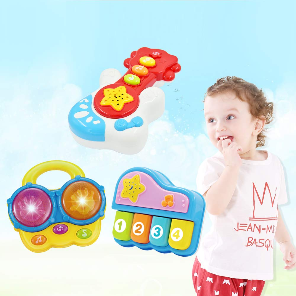 WEofferwhatYOUwant Portable Set of 3 (Piano, Bongo Drums, Guitar.) Educational Toy for Music Learning and Entertainment for Ages 9 Months to 4 Years by WEofferwhatYOUwant (Image #6)
