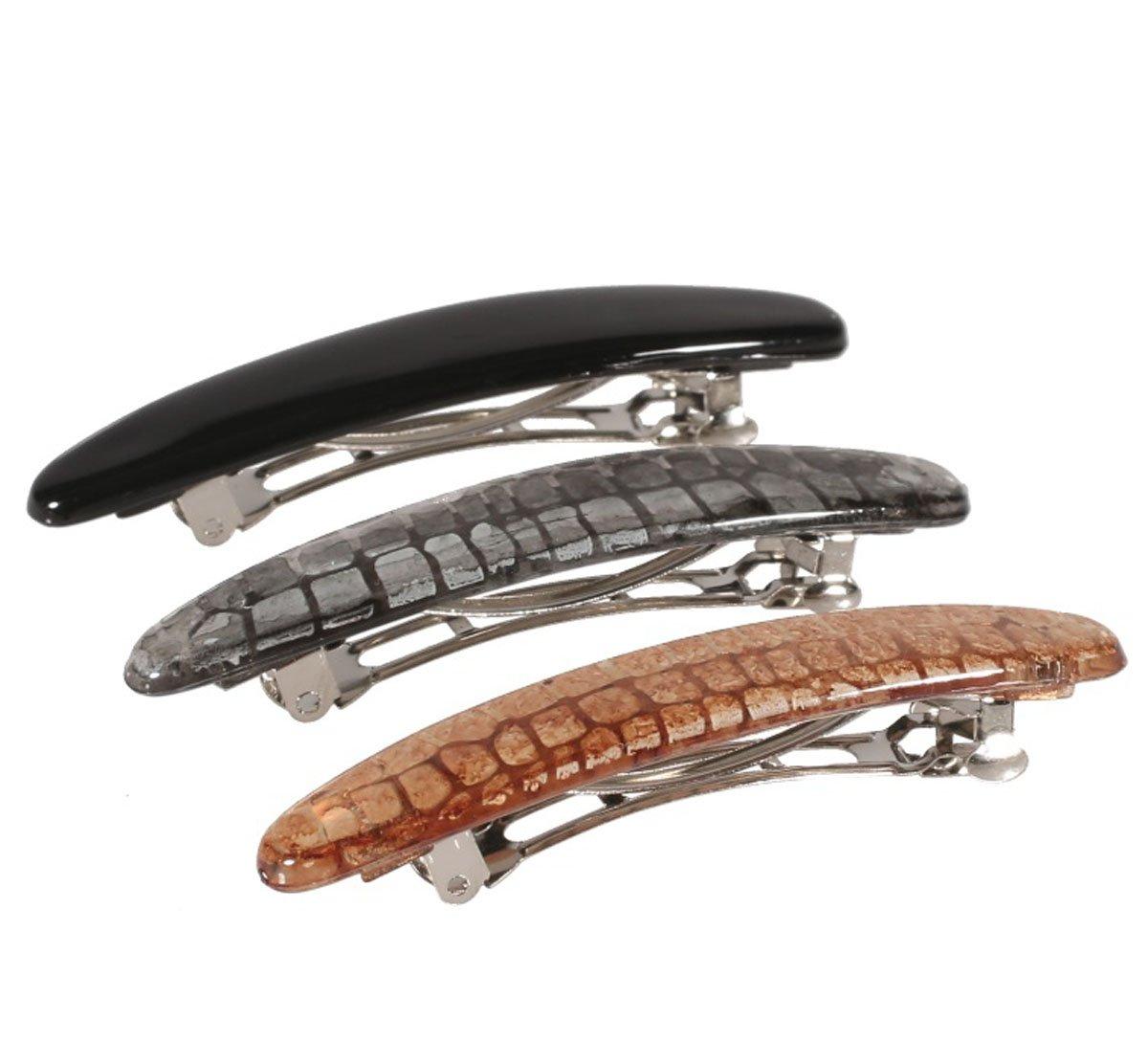 Lot de 3 Barrettes en Métal Argenté et Plastique - 7 cm - Imprimé Peau de Serpent - Accessoire Coiffure Cheveux Femme (Noir / Gris / Beige) Tata Gisèle