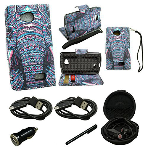 Mstechcorp- For LG F70 Access 4G LTE L31G LTE L31L - Design Dual-Use Flip PU Leather Fold Wallet Pouch Case Includes [Car Charger] + [Touch Screen Stylus] + [Hands Free Earphone With Carrying Case] + [2 Data Cables] (WALLET TRIBAL ELEPHANT) (Wallet Zucca Long)
