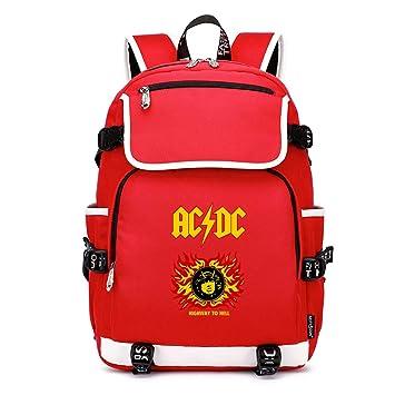 Unisex ACDC Mochilas Escolares Juveniles Mochila de Lona Portátil con USB Puerto de Carga Mochila Casual Mochila Gran Capacidad: Amazon.es: Equipaje