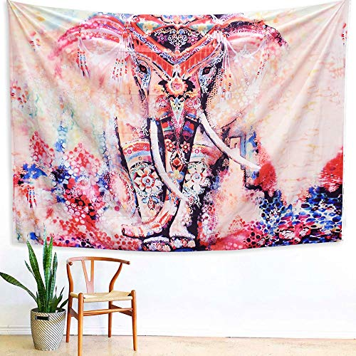 Impressions Wall Tapestry - Arfbear Elephant Tapestry, Wall hangings Pink and Purple Hippie Trippy Large tablecloths Wall Tapestry for Bedroom 59x83.9inches