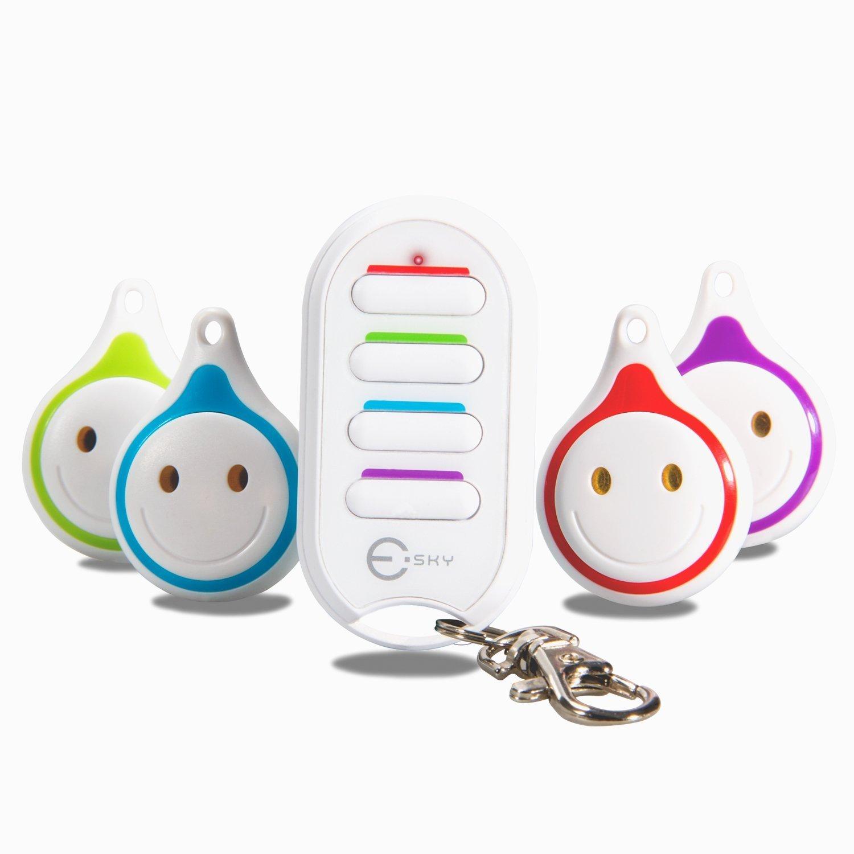 Esky Wireless RF Item Locator Key Finder Item Tracker Phone Tracker Finder Anything Finder with 1 RF Transmitter 4 Receivers Remote Control, Pet, Wallet, Cat Tracker (ES-KF03-WE)