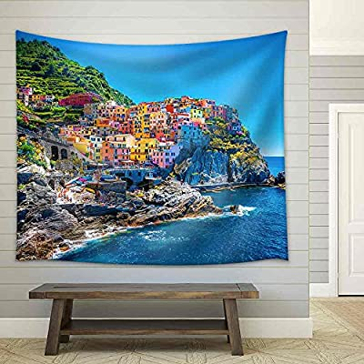 Beautiful Colorful Cityscape on The Mountains Over Mediterranean Sea Fabric Wall