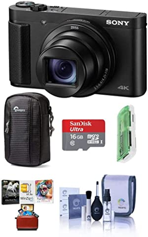 Sony Cyber-Shot DSC-HX99 18.2MP Compact Digital Camera with ZEISS 24-720mm Zoom Lens, Black - Bundle with Camera Case, 16GB MicroSDHC Card, Cleaning Kit, Card Reader, Mac Software Package